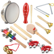 Wooden Musical Instrument Set 14 PCS | Rhythm & Music Education Toys for Kids