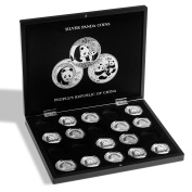 Presentation case for 20 panda silver soins in capsules, black