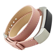Fitbit Alta Strap,HARRYSTORE Double Tour Genuine Leather Replacement Strap Wristband with Metal Buckle for Fitbit Alta