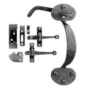 Acorn RTHBR Bean Thumb Latch Combo Black Iron Set
