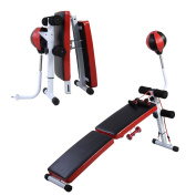 GYMAX Folding Sit Up Bench AB Abdominal Crunch Exercise Board W/Boxing Ball,Dumbbell,Train Ropes