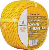 Wellington 15013 Twisted Rope, 1cm Dia x 15m L, 100kg, Polypropylene, Yellow