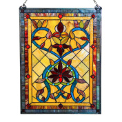 River of Goods 60cm . Stained Glass Fiery Hearts and Flowers Window Panel