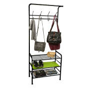 Mind Reader Metal Coat, Shoe Rack, Purses, Scarf, Shelving Organiser, Black