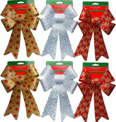 Glitter Christmas Bows 15cm x 25cm - 6 Large Bows