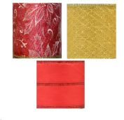 Christmas Red Gold Ribbon with Wired Edges Sets of 3 Different Designs Shown