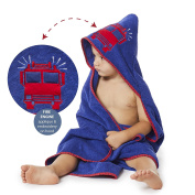 Boys Hooded Towel FIRE TRUCK Fire Engine 90cm x 90cm for Infants, Toddlers and Kids, Great for Gifts. Perfect for Bath, Pool and Beach. 100% Cotton