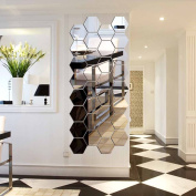 Hexagon Mirror, H2MTOOL 12 PCS 9cm Removable Acrylic Mirror Wall Stickers for Home Living Room Bedroom Decor