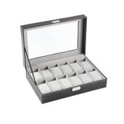Ohuhu 12-Slot Leather Watch Box / Watch Case / Jewellery Box /Watch Jewellery Display Storage, Grey