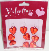 Valentine Acrylic Heart Ornaments - 9 Pc