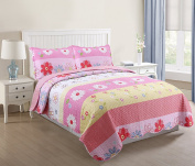 MarCielo 3 Piece Kids Bedspread Quilts Set Throw Blanket for Teens Girls Bed Printed Bedding Coverlet, Full Size, Pink Yellow Floral Striped