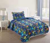 MarCielo 2 Piece Kids Bedspread Quilts Set Throw Blanket for Teens Boys Girls Bed Printed Bedding Coverlet, Twin Size, Dinosaur