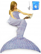 LAGHCAT Mermaid Tail Blanket Crochet Mermaid Blanket for Adult, Soft All Seasons Sleeping Blankets, Whale Tail Pattern