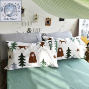 BuLuTu Cotton Siberia Forest Theme Bed Pillowcases Set of 2 Queen White Kids Pillow Covers Decorative Standard For Boys Envelope Closure End