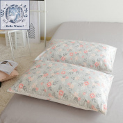 BuLuTu Cotton Vintage Floral Print Bed Pillowcases Set of 2 Queen Grey Garden Blossom Flowers Kids Pillow Covers Decorative Standard For Girls Envelope Closure End