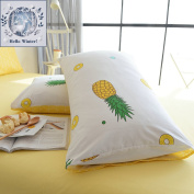 BuLuTu Cotton Pineapple Print Bed Pillowcases Set of 2 Queen White Pillow Covers Decorative Standard For Boys Girls Envelope Closure End