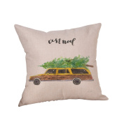 Birdfly Classic Cars in Christmas Throw Pillow Cases Vintage Lovers Cotton Linen Square Cushion Covers Decorative Pillowcase, Fall Winter Home Decor