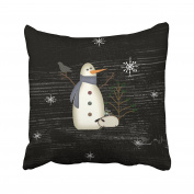 Emvency Pillowcases Xmas New Year Country Primitive Snowman Decorative Cushion Cover Case Throw Pillow Cover Case Protectors Square 46cm x 46cm One Side Sofa Couch