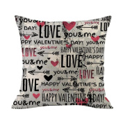 Happy Valentine Pillow Case, Jujunx Pillow Cases Cotton Linen Sofa Cushion Cover Home Decor