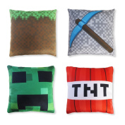 """Kids' Pillowcase Set (4 Covers, 6"""" x 6""""), Mining Pillow Cover Design, Minecraft and Video Game Inspired, Room Decoration, Fun Christmas or Birthday Gift"""