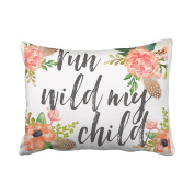 Emvency Decorative Throw Pillow Cover Standard Size 50cm x 70cm Run Wild My Child Boho Nursery Baby Girl Pillowcase With Hidden Zipper Decor Cushion Gift For Home Sofa Bedroom Couch Car