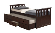 Broyhill Kids Marco Island Captain's Bed with Trundle Bed and Drawers, Espresso