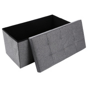 Storage Ottoman,Folding Storage Bench, Linen-like Fabric and Foldable Stool Thickening Sponge for Livingroom 80cm