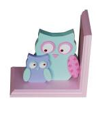Owl Kids Bookends, Pink, Model