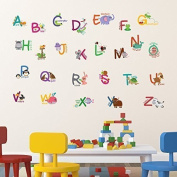 """Walplus Wall Stickers """"Fauna Animal Alphabet"""" Removable Self-Adhesive Art Decal Murals Nursery Restaurant Cafe Hotel Building Office Home Decoration"""