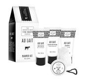 Au Lait Pamper Kit contains Tubes 75 ml x 3/ Soap 40 g/ Bath Puff