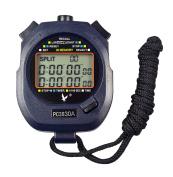 CALESI Digital Professional Handheld LCD Sports Stopwatch Three-Row 30 Memories Lap