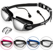 Proworks Swimming Goggles with Mirrored Lenses, UV Protection and Anti-Fog Coating - for Adults, Children, Men, Women, Kids | Fully Adjustable