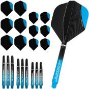 Designa Infusion Dart Flights and Shafts Combo Kit - Aqua Blue - Includes Darts Corner Curvy Ballpen