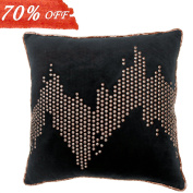 Valery Madelyn 46cm x 46cm Geometric Black Gold Velvet Nailhead Studs Decorative Pillow Cover for Sofa Couch