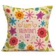 Valentine's Day Pillow Case,Hmlai Happy Valentine Courtship Gift Cotton Linen Decorative Throw Lumbar Waist Pillow Case Cushion Cover Home Decor Anniversary Valentine's Day Gift,46cm x 46cm