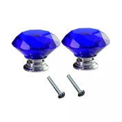 CSKB 2 PCS 30mm Blue Crystal Glass Diamond Cut Door Knob for Wardrobe,Cabinet, Drawer, Chest, Bin, Dresser, Cupboard, Etc with Screw Set Home Decoration