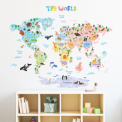 Decowall DLT-1615 Animal World Map Kids Wall Decals Wall Stickers Peel and Stick Removable Wall Stickers for Kids Nursery Bedroom Living Room