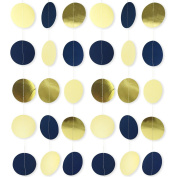 Navy Blue Party Garland, 6.4cm Circle Dots Garland for Navy Blue Party Decorations Weddings Bridal Shower Birthday Baby Shower Nursery Decor 3 Pack/Set 3m Long