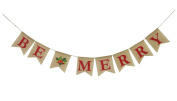 Be Merry Burlap Banner, Christmas Burlap Banner Christmas Holiday Banner Decoration Home Garden Indoor Outdoor Banner