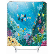 Blue Ocean Tropical Fish Coral Undersea World Waterproof/Mildew Resistant Polyester Fabric Shower Curtain for Kids with 12 Hooks