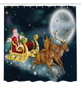 Ambesonne Christmas Decorations Collection, Santa with Reindeer in Sledge Flying Dark Magical Starry Night with Full Moon Fantasy, Polyester Fabric Bathroom Shower Curtain Set with Hooks, Multi