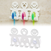 Onpiece Toothbrush Holder Wall Mounted Suction Cup 5 Position Cute Cartoon Smile Bathroom Sets