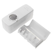 Automatic Toothpaste Dispenser with Toothbrush Holder Set/ Wall Mounted Kids Hands Free Toothpaste Squeezer White