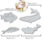 Anyana 4pcs set Fish Plastic Cookie Cutter Cake Mould Tool Kitchen Tool Sugar Paste Baking Mould Cookie Pastry