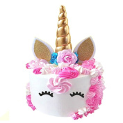 Handmade Gold Unicorn Birthday Cake Toppers set. Unicorn Horn, Ears and flowers Set. Unicorn Party Decoration for baby shower,wedding and birthday party
