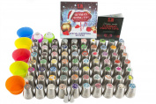 100pc Russian piping tips Special edition! 70 NEW design numbered stainless steel nozzles ,2leaf tip, 3-colour+ single coupler, 20 pastry bags, 5 silicon cake cups, Christmas tips, largest set!