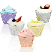 Tomnk 100PCS Cupcake Wrappers, 5 Colours with Hollow-out Patterns for Muffin Cupcake for Wedding, Birthday, or Any Special Event
