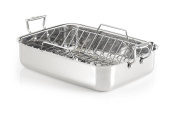 Lagostina T9910164 Stainless Steel 41cm Rectangular Roasting Pan Chicken Roaster with Rack Cookware, Silver