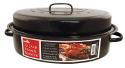 Euro-Ware 1513 Oval Carbon Steel Non-Stick Enamel Roaster with Cover, X-Large/10-11kg, Black