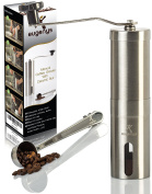 Manual Coffee Grinder – Perfect Coffee Mill For Home And Travelling - Ceramic Conical Burr Grinder for Precision Brewing – Portable Stainless Steel Hand Bean Grinder – BONUS Scoop And EBook
